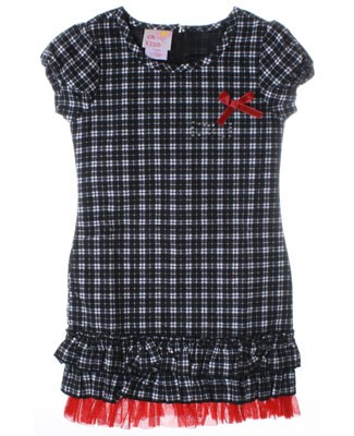 GT Black And White Plaid Dress With Ruffles