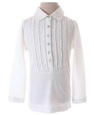 GT Cream Ruffle L/S Top With Gold Stitching