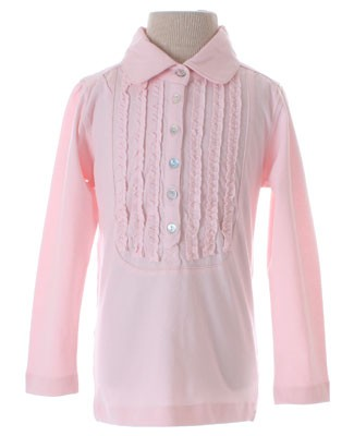 GT Light Pink Ruffle L/S Top With Gold Stitching