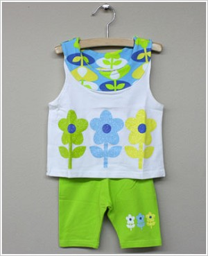 GT White Sparkle Flower Tank & Lime Biker Short Set
