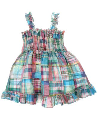 GT Turquoise/Pink Patch Woven Tank Smocked Dress