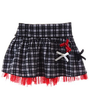GT Black and Red Plaid Skirt