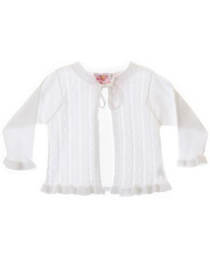 GT White Pointelle Cardigan