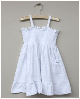 GT White Terry Smocked Tank Dress w/ Pocket