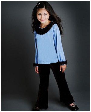 Greggy Girl Blue Velour Top & Brown Velour Pant Set