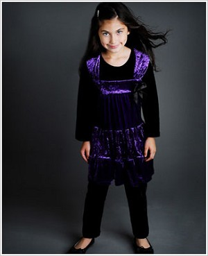Greggy Girl Purple Velour Swing Top & Black Velour Legging Set
