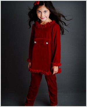 Greggy Girl Red Velour Tunic Top & Red Velour Legging Set