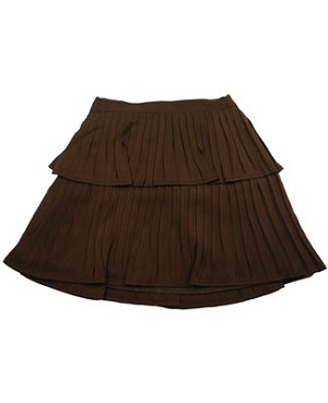II: Halabaloo Chocolate Silk Pleated Skirt