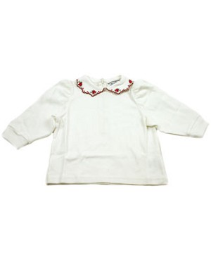 II: Hartstrings Off White Knit Blouse w/ Rose Design