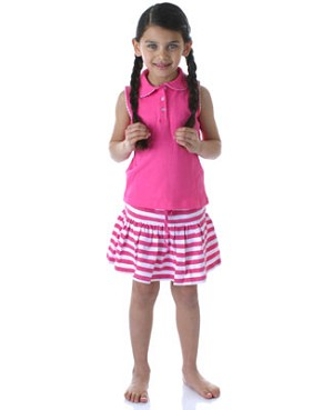 II: Hartstrings Pink Sleeveless Polo Shirt and Striped Skirt Set