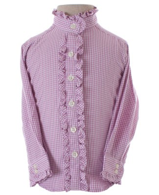 Hartstrings Purple L/S Plaid Ruffle Button Front Top