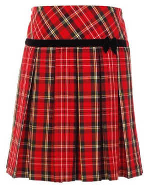 Hartstrings Red Plaid Woven Pleated Skirt w/ Bow