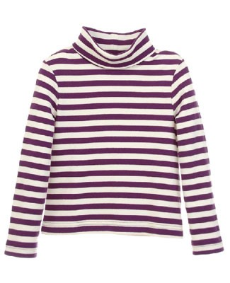 Hartstrings Purple Stripe L/S Turtleneck Tee