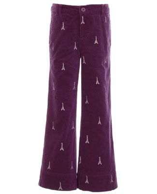 Hartstrings Purple Velveteen Eiffel Tower Pants
