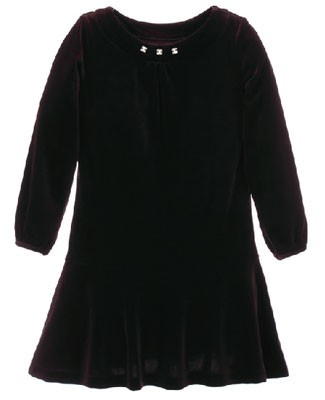 Hartstrings Black L/S Velour Dress w/ Jewel Accents