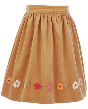 Hartstrings Brown Cord Short Skirt w/ Flowers