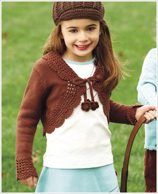 Hartstrings Brown Crochet Shrug