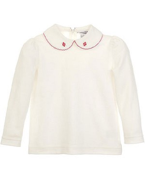 Hartstrings Cream L/S Top w/ Embroidered Collar