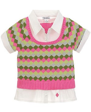 Hartstrings Pink/Green S/S Pullover Polo Sweater