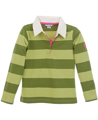 Hartstrings L/S Green Striped Polo Top