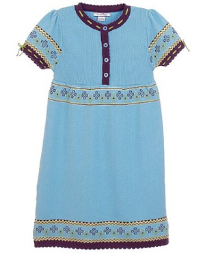 Hartstrings Blue Sweater Dress w/ Floral Design