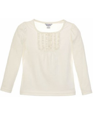Hartstrings Cream L/S Ruffle Front Top