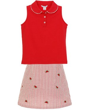 II: Hartstrings Red Sleeveless Polo Shirt and Woven Watermelon Skort Set