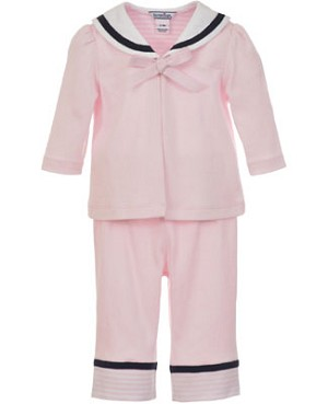 Hartstrings 2pc Pink Knit Sailor Cardigan and Pant Set