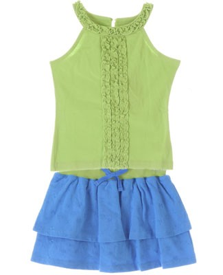 Hartstrings Green Ruffle Tank & Blue Skort Set
