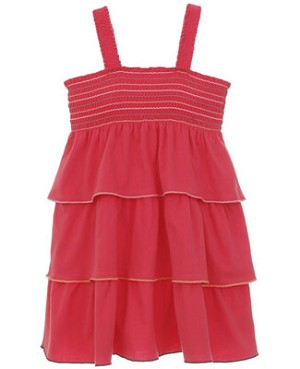 Hartstrings Dark Coral Smocked Sun Dress