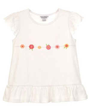 II: Hartstrings White Eyelet Sleeve Tee w/ Embroidered Flowers