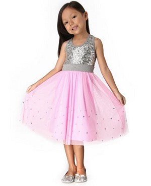 Haven Girl Pink and Gray Sequin Racer Back Dress with Tulle Skirt