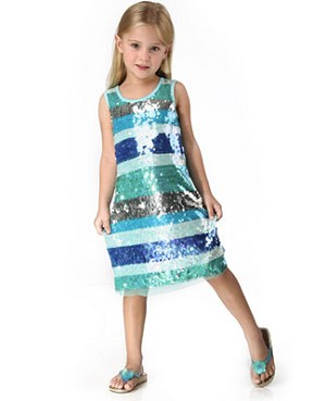 Haven Girl Blue Lagoon Sequin Tank Dress