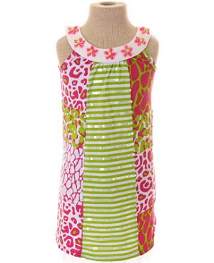 Haven Girl *Wild At Heart* Pink/Lime Panel Tank Dress