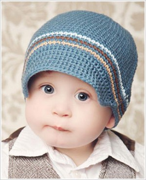 Z: Huggalugs Hat - Crocheted Blue Stripe Newsboy