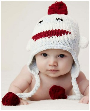Z: Huggalugs Hat - Blue Sock Monkey Beanie