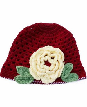 Z: Huggalugs Hat - Deep Red Crocheted Hat w/ Pale Yellow Flower