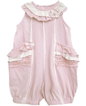 Isobella & Chloe Light Pink/White Yoke Neck Romper w/ Ruffle Pockets