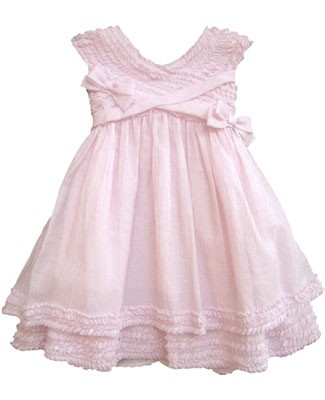 Isobella & Chloe Pink Sleeveless Ruffle Cross Top Dress w/ Bows
