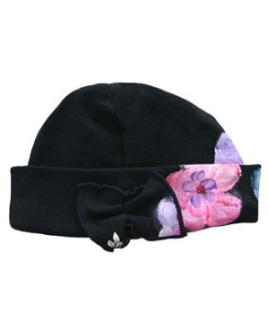 Toddler Indygo Artwear Black Flower Garden Beanie