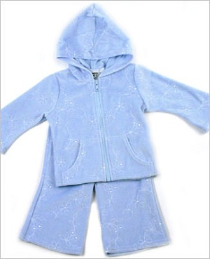 Size 12m II: Cozy Toes Blue Velour Embroidered Hooded Zip Jacket & Pant Set