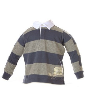 II: Jackson Clay Blue and Grey Striped L/S Rugby Polo Shirt