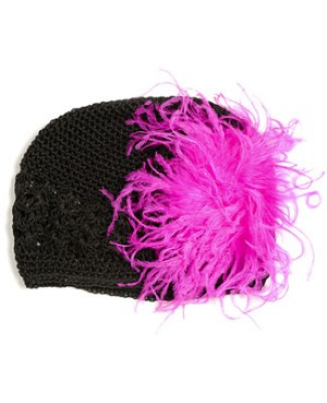 Z: Crochet Black Curly Marabou Hat *Many Colors!*