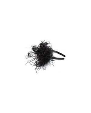 Z: Black Curly Marabou Hard Headband