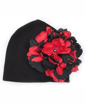 Z: Black Beanie Hat with Black/Red Peony