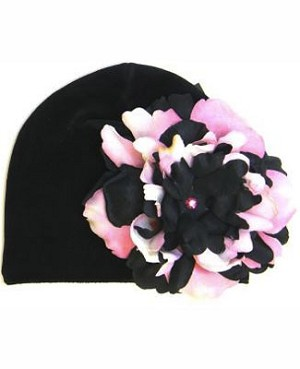 Z: Black Beanie Hat with Black/Pink Peony