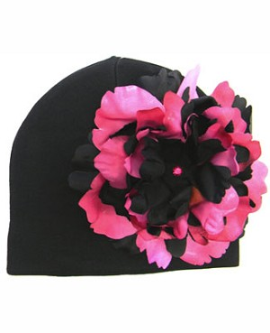 Z: Black Beanie Hat with Black/Raspberry Peony