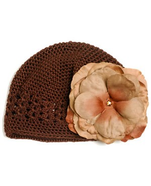 Z: Crochet Chocolate Large Rose Hat *Many Rose Colors!*