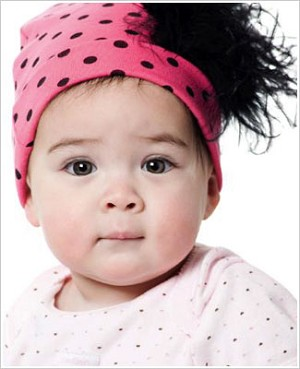 Z: Candy Pink Black Dots-Black Curly Beanie