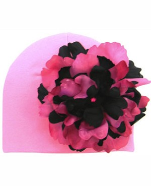 Z: Candy Pink Beanie Hat with Black/Raspberry Peony